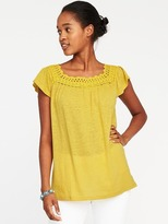 Old Navy Crochet-Trim Linen-Blend Swing Top for Women