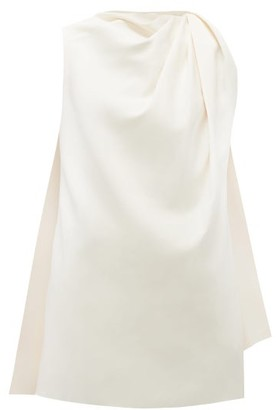 Marina Moscone - Cape-back Draped Crepe Tunic Top - Womens - Ivory