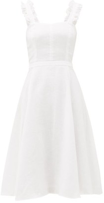 Ephemera - Bloom Ruffle-strap Flared Linen Midi Dress - Ivory