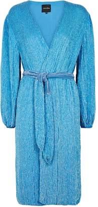 retrofete Audrey Blue Sequin Wrap Dress
