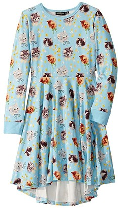 Rock Your Baby Kittens Galore Long Sleeve Waisted Dress (Toddler/Little Kids/Big Kids)
