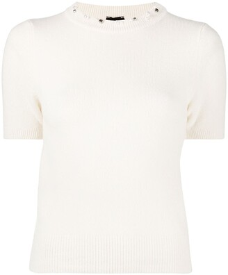 Pinko Pearl-Embellished Knitted Top