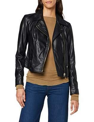 Trussardi Jeans Women's Motorcycle Regular Fit Soft Ec Coat, Black K299, 8 (Size: 40)