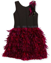 Zoë Ltd Sleeveless Ponte & Feather Dress, Black/Pink, Size 7-16