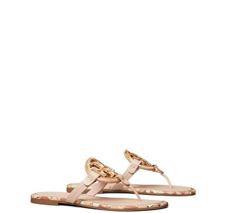 Tory Burch Miller Enamel-Logo Sandal, Leather