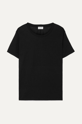 Saint Laurent Essentials Appliqued Cotton-jersey T-shirt - Black