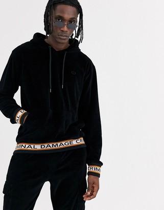 Criminal Damage hoodie in black velour