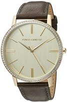 Vince Camuto Women's Quartz Stainless Steel and Leather Dress Watch, Color:Grey (Model: VC/5326CHDG)