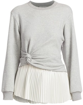3.1 Phillip Lim Twist Detail Pleated Peplum Long-Sleeve Tee