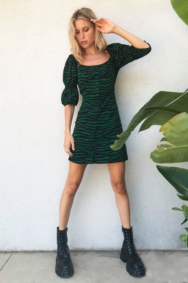 Nasty Gal Womens Zebra Square Neck Dress with Underbust Seam - Green - 4, Green