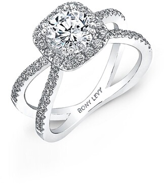 Bony Levy Pave Diamond Split Shank Round Engagement Ring Setting