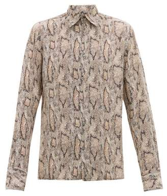 73 London - Snake-print Silk Shirt - Mens - Brown Multi