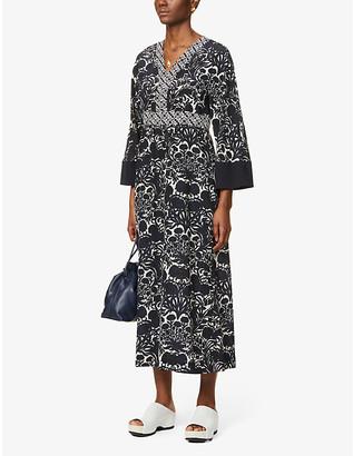 S Max Mara Cicladi graphic-print silk-satin midi dress