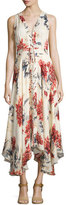 Haute Hippie Sleeveless Lace-Up Floral Silk Midi Dress, Lincoln