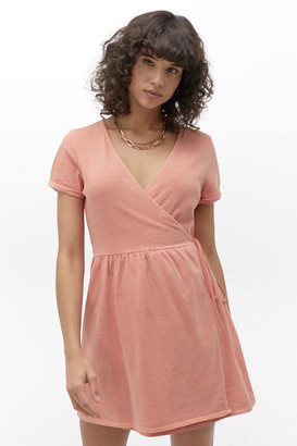 Urban Outfitters Washed Cotton Wrap Mini Dress