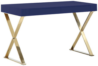 One Kings Lane X-Leg Desk - Navy/Gold
