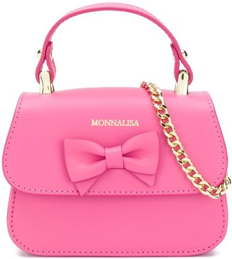 MonnaLisa Bow Detail Logo Tote Bag