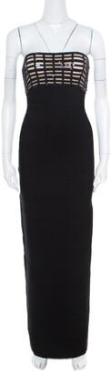 Herve Leger Black Sequin Grid Embellished Strapless Florence Bandage Gown XS