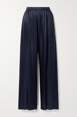 Balenciaga Pleated Satin-jacquard Wide-leg Pants - Navy