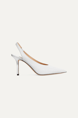 Jimmy Choo Ivy 85 Croc-effect Leather Slingback Pumps - White