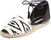 Cynthia Vincent Farie Zebra-Print Ankle-Wrap Sandal, Black/White