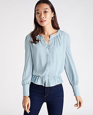 Ann Taylor Mixed Media Cinched Waist Top