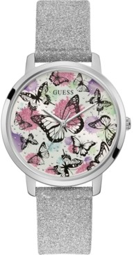 GUESS Women's Silver-Tone Glitter Leather Strap Watch 40mm
