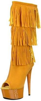 The Highest Heel Women's Amber 302 Western Style Open Toe Microsuede Fringe Boot Mid Calf