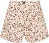 Miu Miu Pleated Floral-print Denim Shorts - Beige