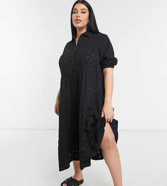 ASOS DESIGN Curve broderie midi tiered shirt dress with short sleeves in black