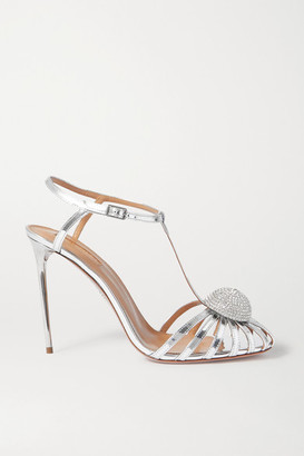 Aquazzura Sublime 105 Crystal-embellished Cutout Metallic Leather Sandals - Silver