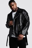 boohoo Mens Black Big And Tall Faux Leather Biker Jacket, Black