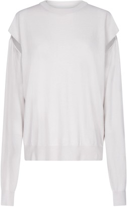 Maison Margiela Cut-out Sleeves Cotton And Wool Sweater