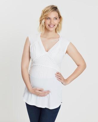 Love2wait Short Sleeve Tencel Crochet Maternity Top
