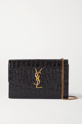 Saint Laurent Uptown Croc-effect Patent-leather Shoulder Bag - Black