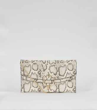 New Look Faux Snake Ring Clutch Bag