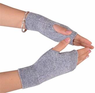 Fully Elastic Winter Thumb Hole Gloves Mitten Wrist Elbow Length Thumbhole Arm Hand Warmer Fingerless Gloves (light grey long)