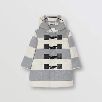 Burberry Logo Detail Striped Wool Cashmere Blend Duffle Coat