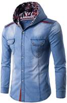 CFD Men's Stylish Button Front Slim Fit Hood Jean Shirts S