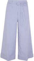 J.Crew Banada Striped Stretch-cotton Wide-leg Pants - Blue