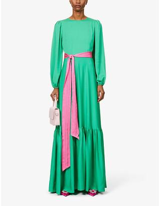 Diane von Furstenberg Amabel puff-sleeve silk-blend maxi dress