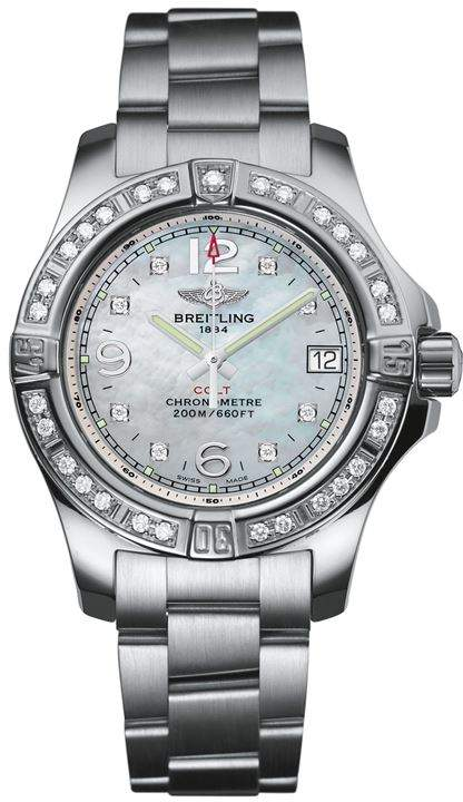 Breitling Stainless Steel Diamond Bezel Colt Watch 33mm
