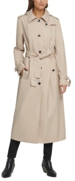 DKNY Belted Maxi Hooded Trench Coat