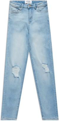 Miss Selfridge Blue Lizzie Bleach Wash Ripped High Waist Skinny Jeans