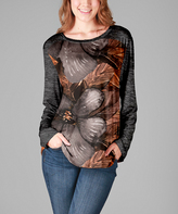 Aster Rust & Gray Floral Raglan Tunic - Plus Too