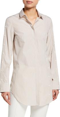 Akris Punto Striped Poplin Button-Sleeve Tunic