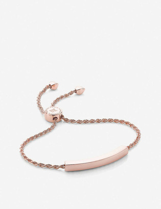 Monica Vinader Linear 18ct rose gold-plated and pave diamond bracelet