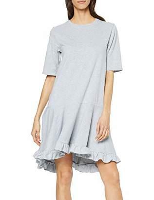 Lost Ink Women's T Shirt Dress with Ruffle Hem Grey Marl 00, (Size:/S)