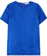 Max Mara Emilia Hammered Silk-satin Top - Bright blue