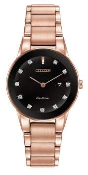 Citizen Ladies Axiom Diamond Pink Goldtone Stainless Steel Bracelet Watch